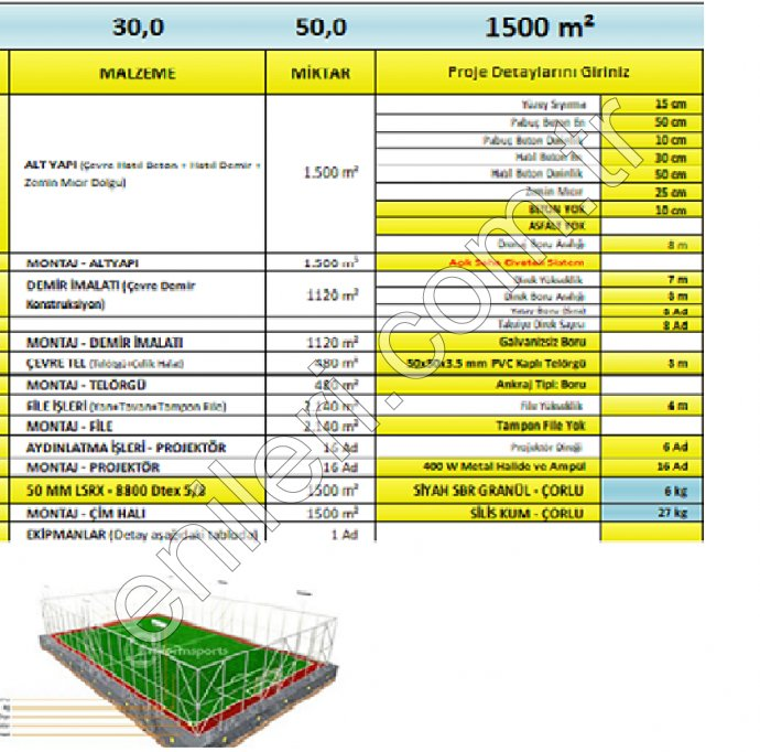 UYGULAMALI AÇIK SAHA 50 MM LSRX - 8800 Dtex 5/8 HALI İLE
