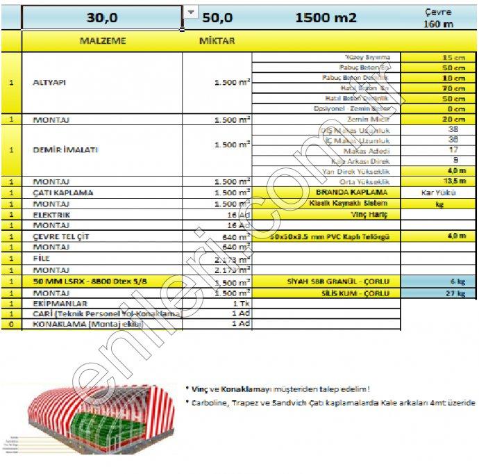UYGULAMALI BRANDALI KAPALI SAHA 50 MM LSRX - 8800 Dtex 5/8 HALI İLE